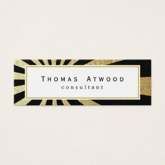Gold Rays Pattern Mini Business Cards Black