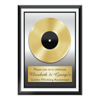 Gold Record Golden Wedding Anniversary Novelty 13 Cm X 18 Cm Invitation Card