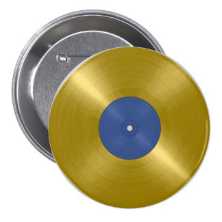 Gold Record with Blue Label 7.5 Cm Round Badge