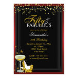 Gold & Red 50 & Fabulous Birthday Invitation