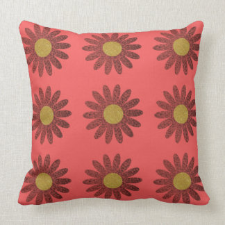 Gold & Red Abstract Floral Pattern Pillow