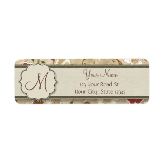 Gold, Red and White Floral on Parchment Monogram Return Address Label