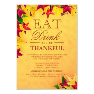 Gold Red Autumn Leaves Thanksgiving Dinner Party Card