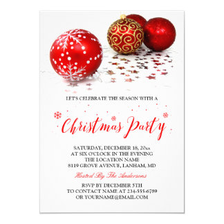 Gold Red Baubles Simple Stylish Christmas Party Card