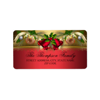 Gold Red bells & Baubles Christmas Address Labels