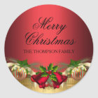 Gold Red bells & Baubles Christmas Sticker