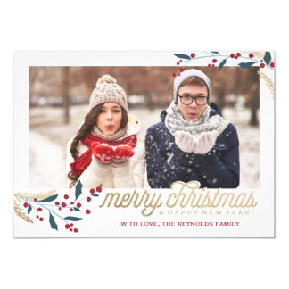 Gold Red Berries Photo Frame   Merry Christmas 13 Cm X 18 Cm Invitation Card