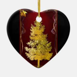 Gold & Red Ceramic Heart Decoration
