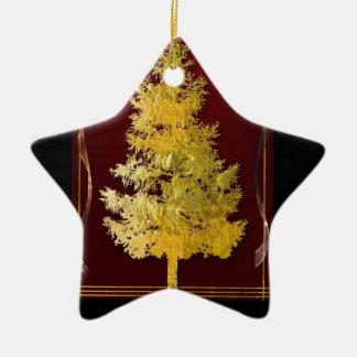 Gold & Red Ceramic Star Decoration