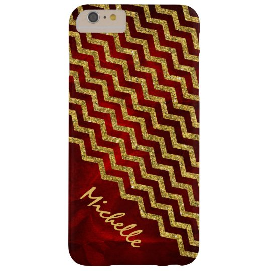 Gold Red Chevron Personalised Barely There iPhone 6 Plus Case