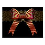 Gold & Red Christmas Bow Holiday Postcards