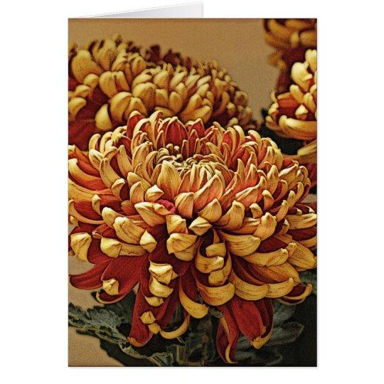 Gold & Red Chrysanthemum Greeting Card