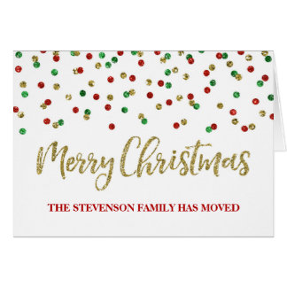 Gold Red Confetti Merry Christmas New Address Card