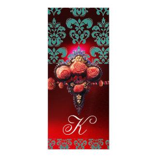 GOLD RED CORAL ROSES, BLUE BLACK DAMASK MONOGRAM 10 CM X 24 CM INVITATION CARD