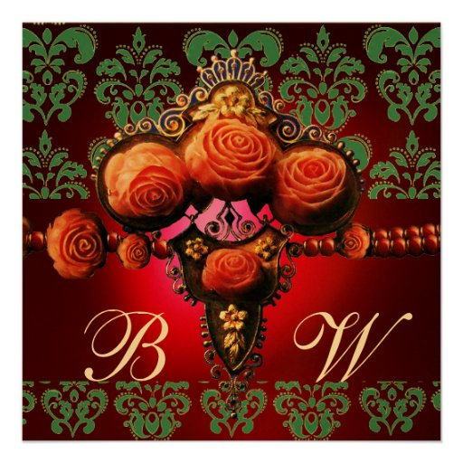 GOLD RED CORAL ROSES,BLUE BLACK DAMASK MONOGRAM PERSONALIZED INVITES