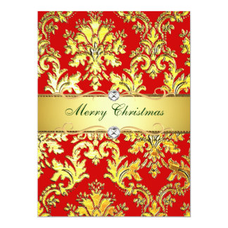 Gold Red Damask Christmas  Photocard template 17 Cm X 22 Cm Invitation Card