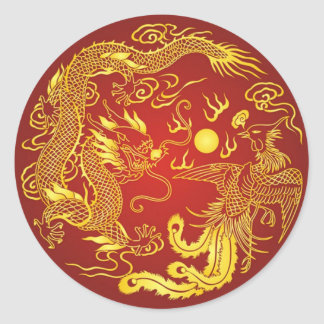 Gold Red Dragon Phoenix Chinese Wedding Favor Classic Round Sticker