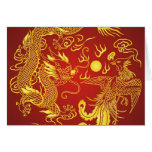 Gold Red Dragon Phoenix Chinese Wedding Favour Note Card