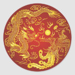 Gold Red Dragon Phoenix Chinese Wedding Favour Round Stickers