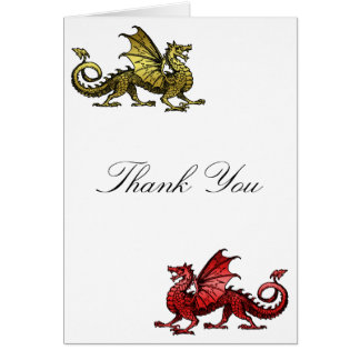 Gold Red Dragon Thank You Card