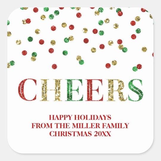 Gold Red Glitter Confetti Cheers Christmas Custom Square