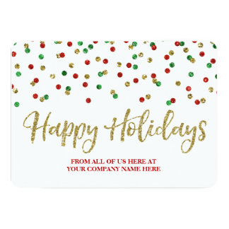 Gold Red Green Confetti Christmas Cards Business