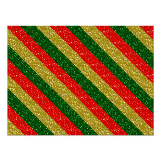 Gold Red & Green Glittery Christmas Stripes Poster
