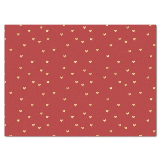 Gold Red Hearts Tissue Paper