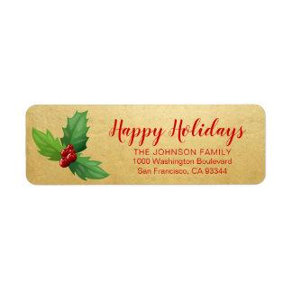 Gold Red Holly Happy Holiday Xmas Return Address