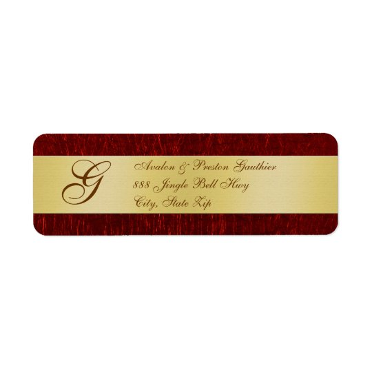 Gold & Red Monogram New Years Labels