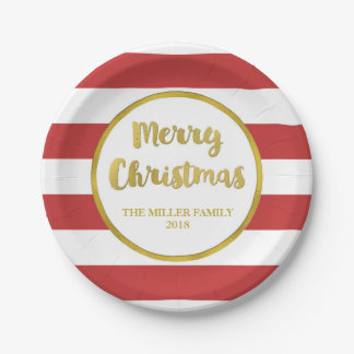 Gold Red Stripes Merry Christmas Custom Plates