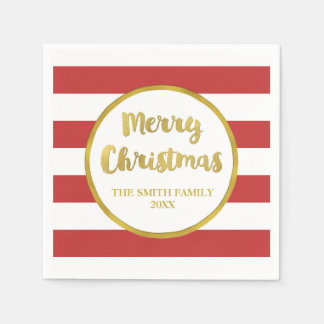 Gold Red Stripes Merry Christmas Napkin Disposable Serviette