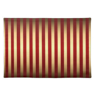 Gold Red Stripes Pattern Place Mats