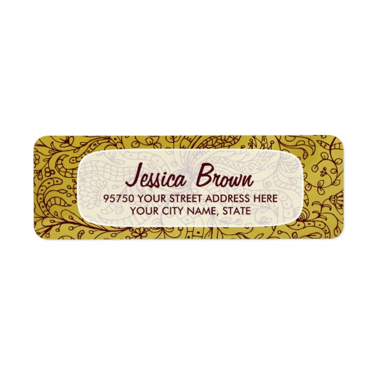 Gold & Red Vintage Floral Art Custom Address Label