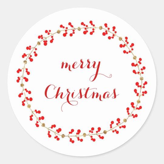 Gold & Red wreath Classic Round Sticker