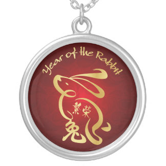 Gold / Red Year of the Rabbit - Chinese New Year Silver Plated Necklace