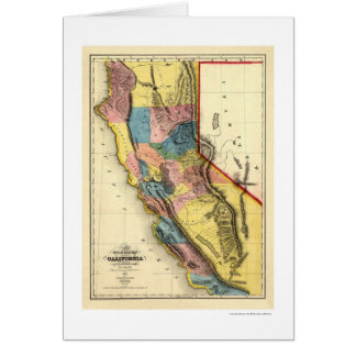 Gold Regions of California Map by Gibbes 1851 Card