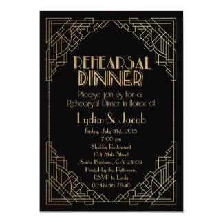 Gold Rehearsal Dinner Invitation-Art Deco Style 13 Cm X 18 Cm Invitation Card