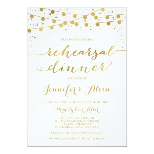 Gold Rehearsal Dinner Invitation, fairy lights Card