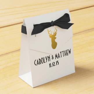 Gold Reindeer Antler Wedding Favour Box