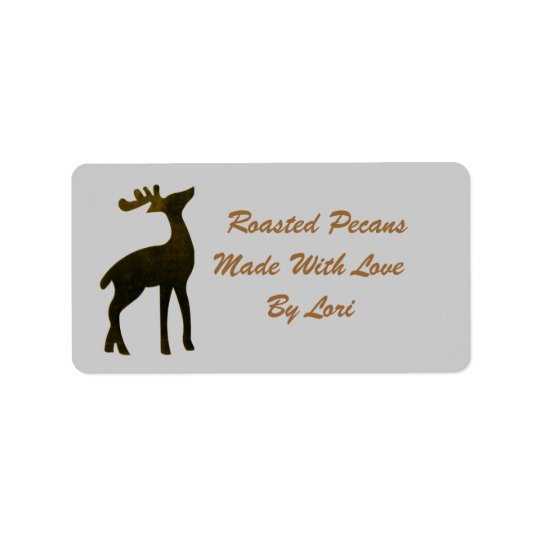 Gold Reindeer Silhouette Christmas Canning Label