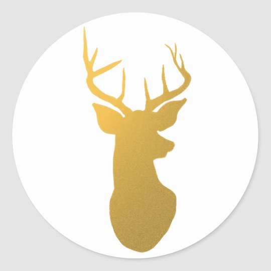 Gold Reindeer Silhouette Modern Holiday Classic Round Sticker