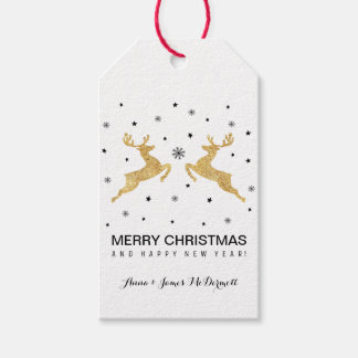 Gold Reindeers Gift Tags