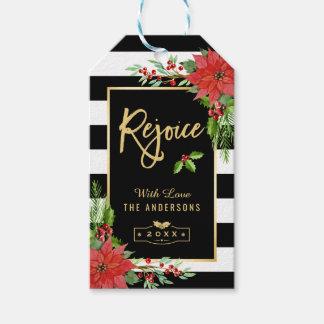 Gold Rejoice Script Christmas Botanical Floral Gift Tags