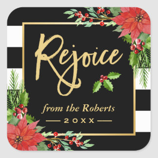 Gold Rejoice Script Religious Christmas Floral Square Sticker