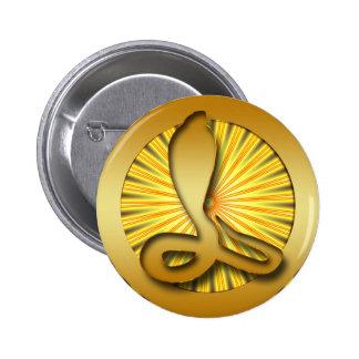GOLD RETRO COBRA 6 CM ROUND BADGE