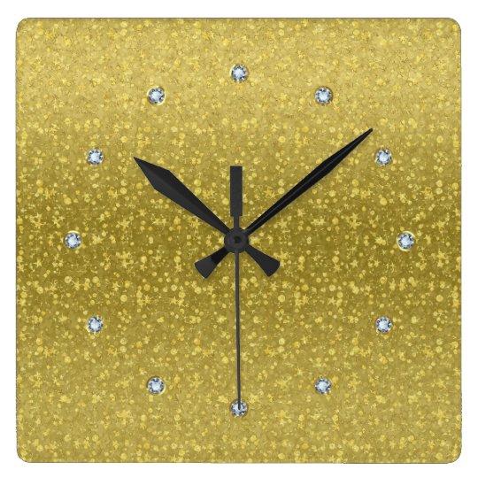 Gold Retro Glitter And Sparkles 2 Square Wall