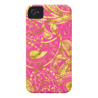Gold Retro Paisley swirl pattern iPhone 4 Case-Mate Cases