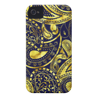 Gold Retro Paisley swirl pattern iPhone 4 Cases