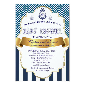 Gold Ribbon Blue Stripes Waves Anchor BABY SHOWER 9 Cm X 13 Cm Invitation Card